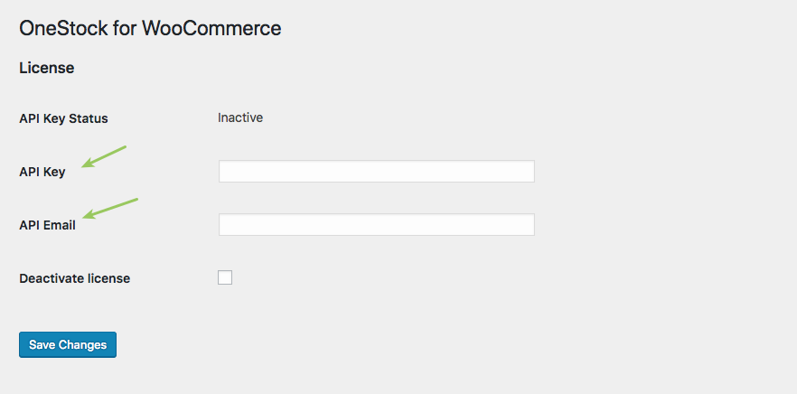 License setting page